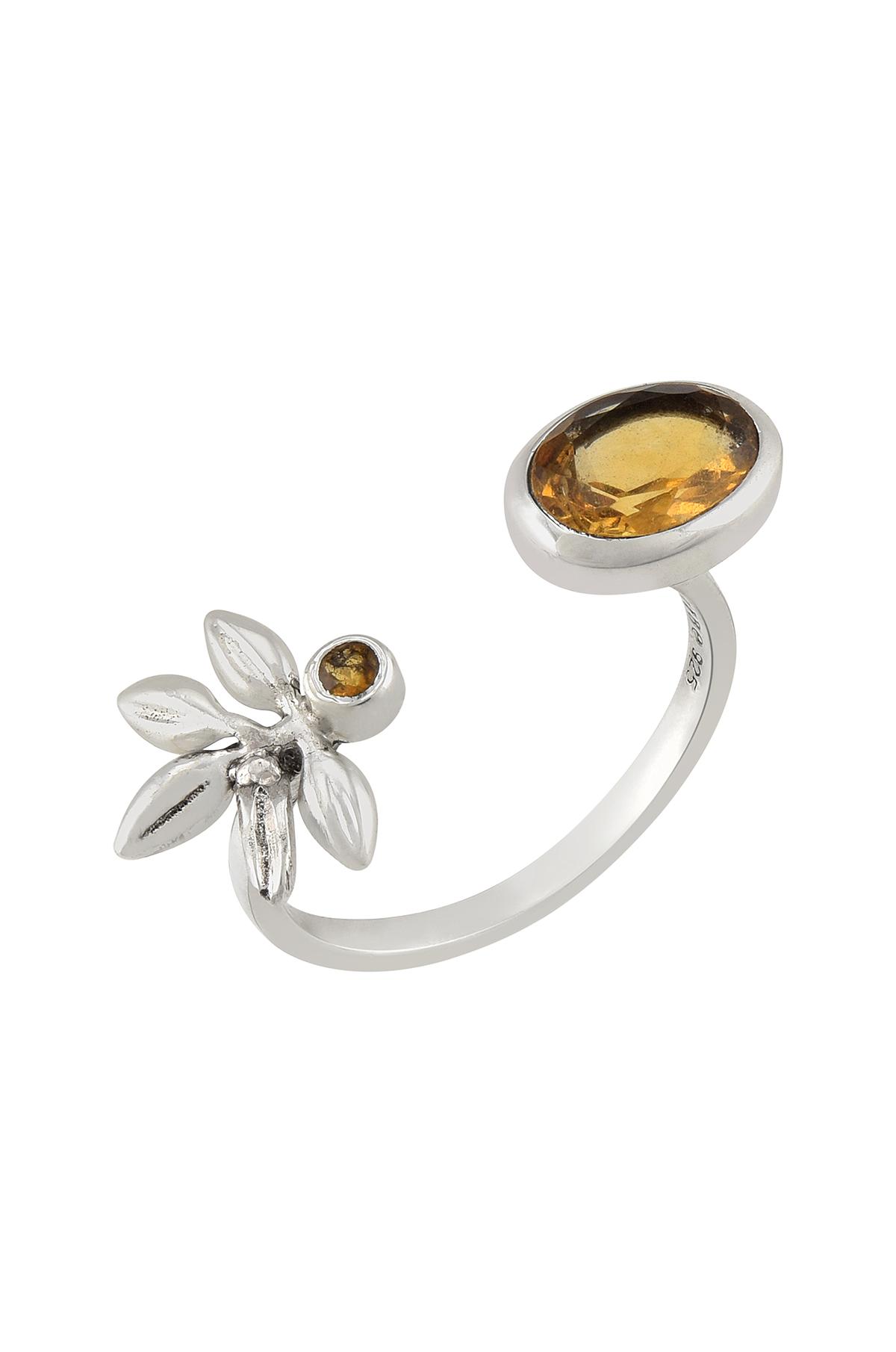 Silver Citrine Flower Ring