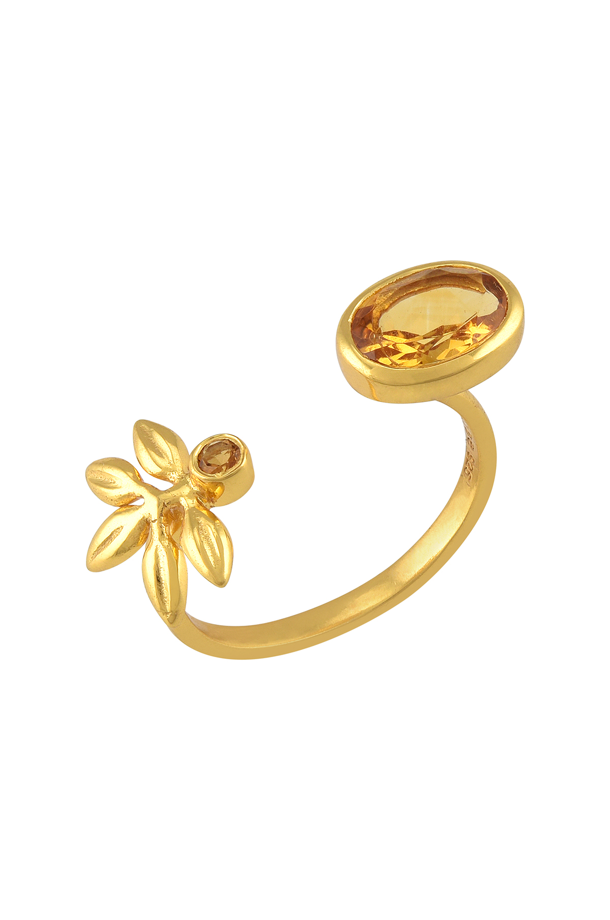 Silver Gold Plated Citrine Flower Ring