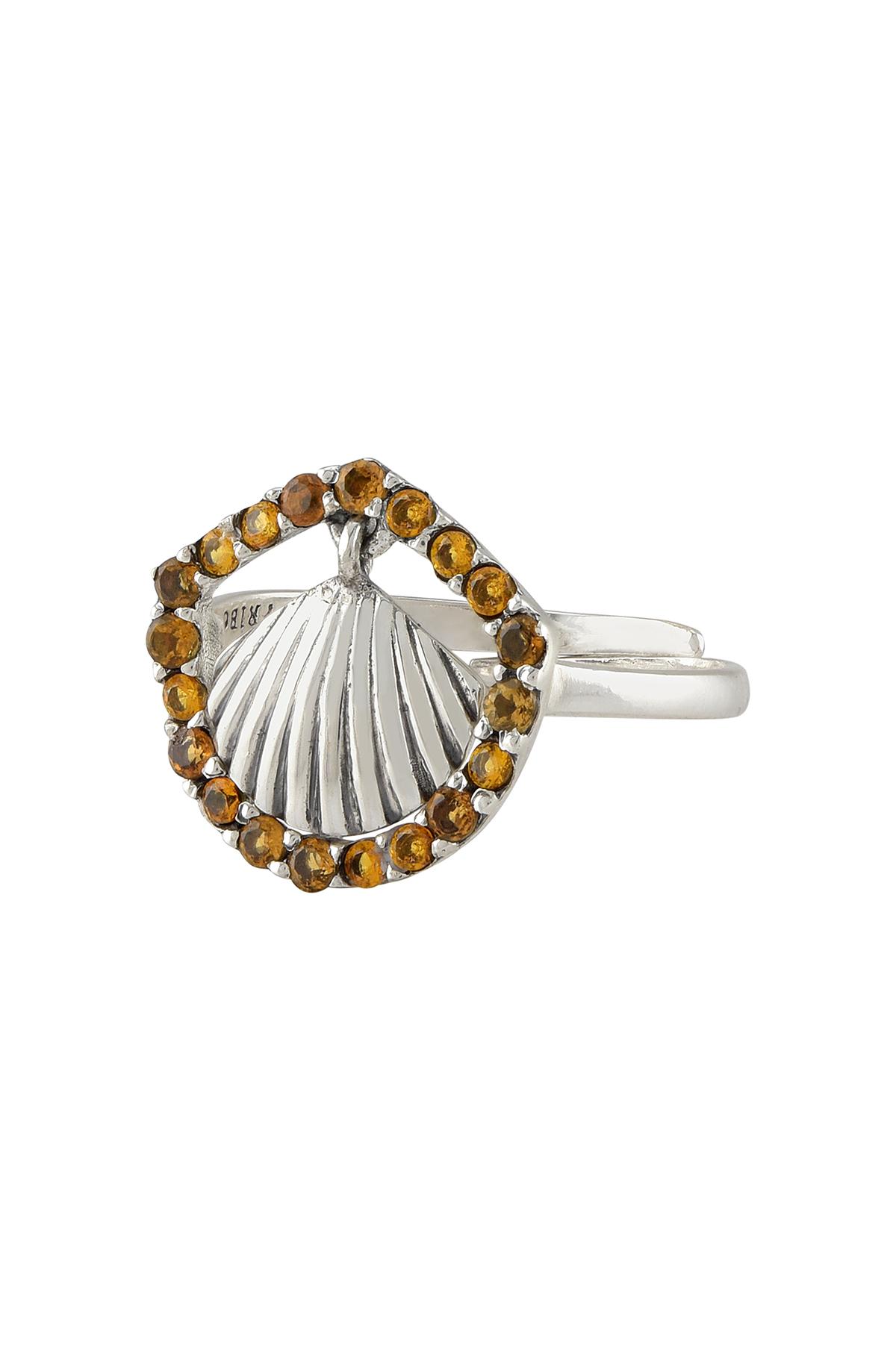 Silver Shell Charm Citrine Ring