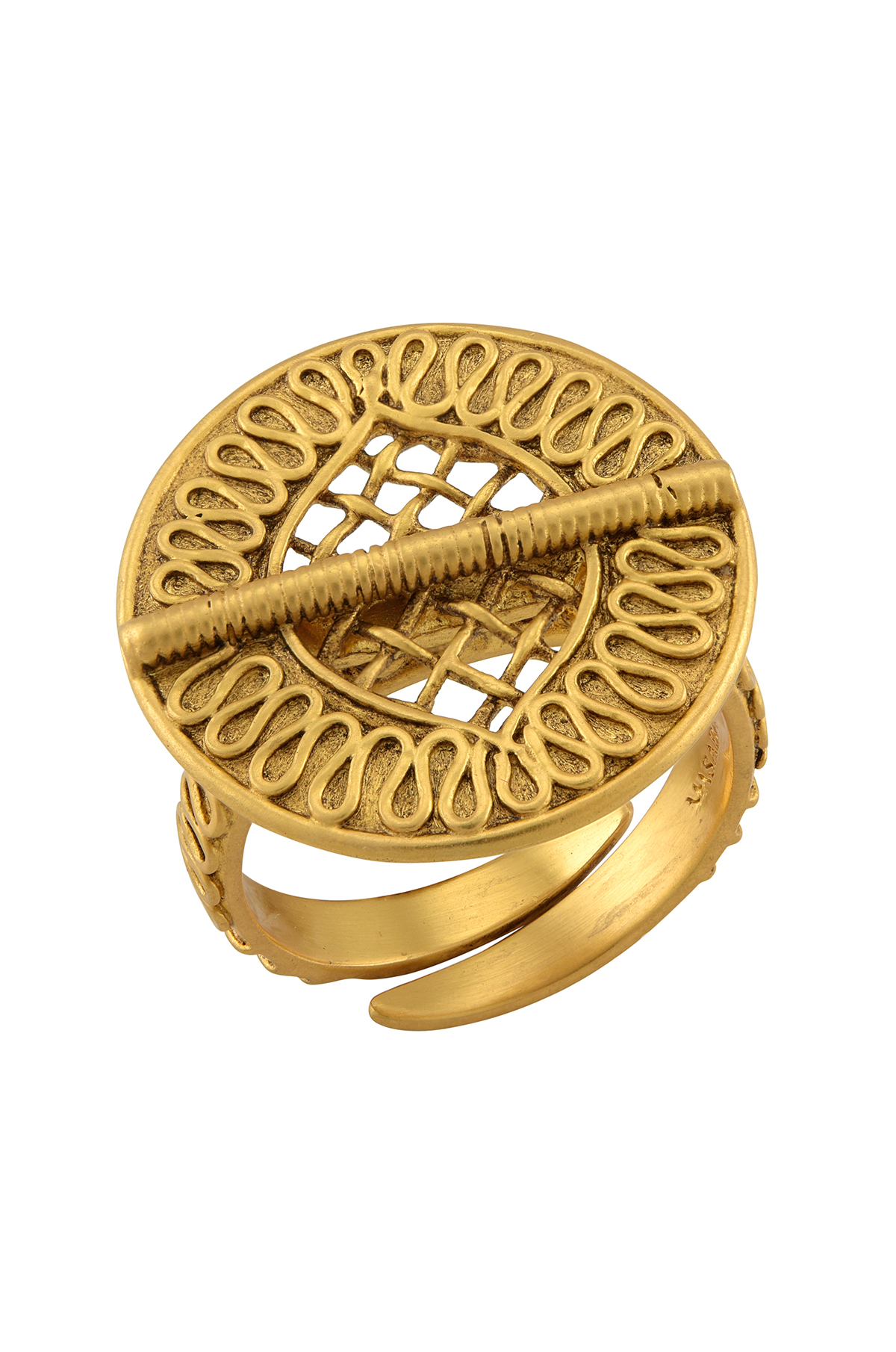 Ivory Shield Gold Plated Ring