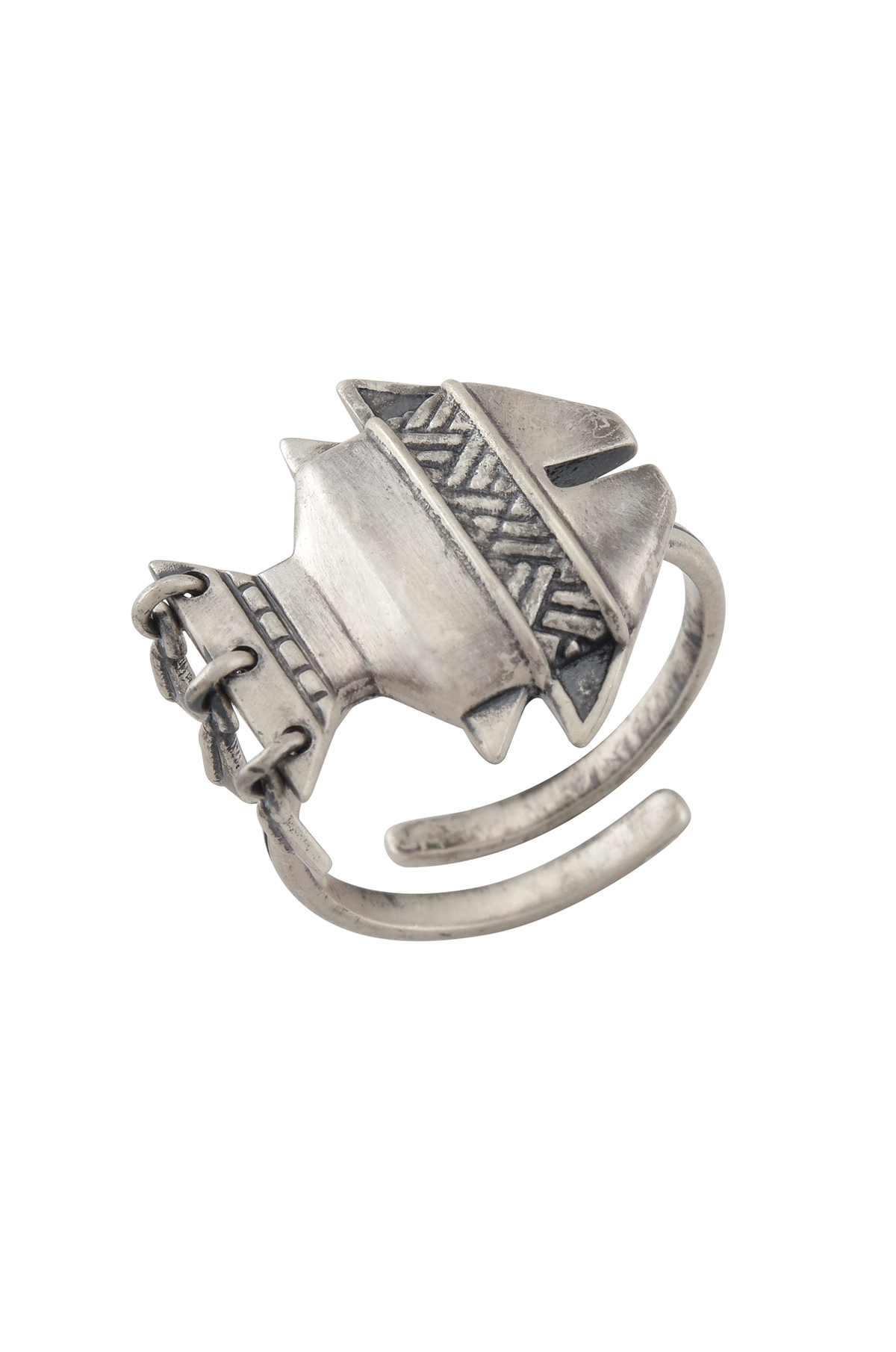 Tribal Fish Silver Plated Ring