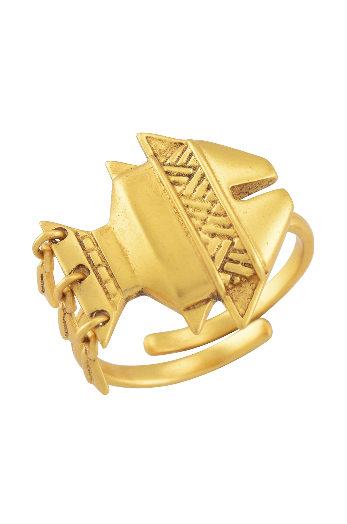 Tribal Fish Gold Plated Ring