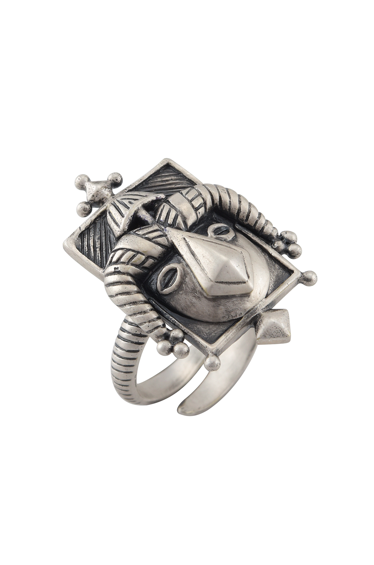 Akan Face Mask Silver Plated Ring
