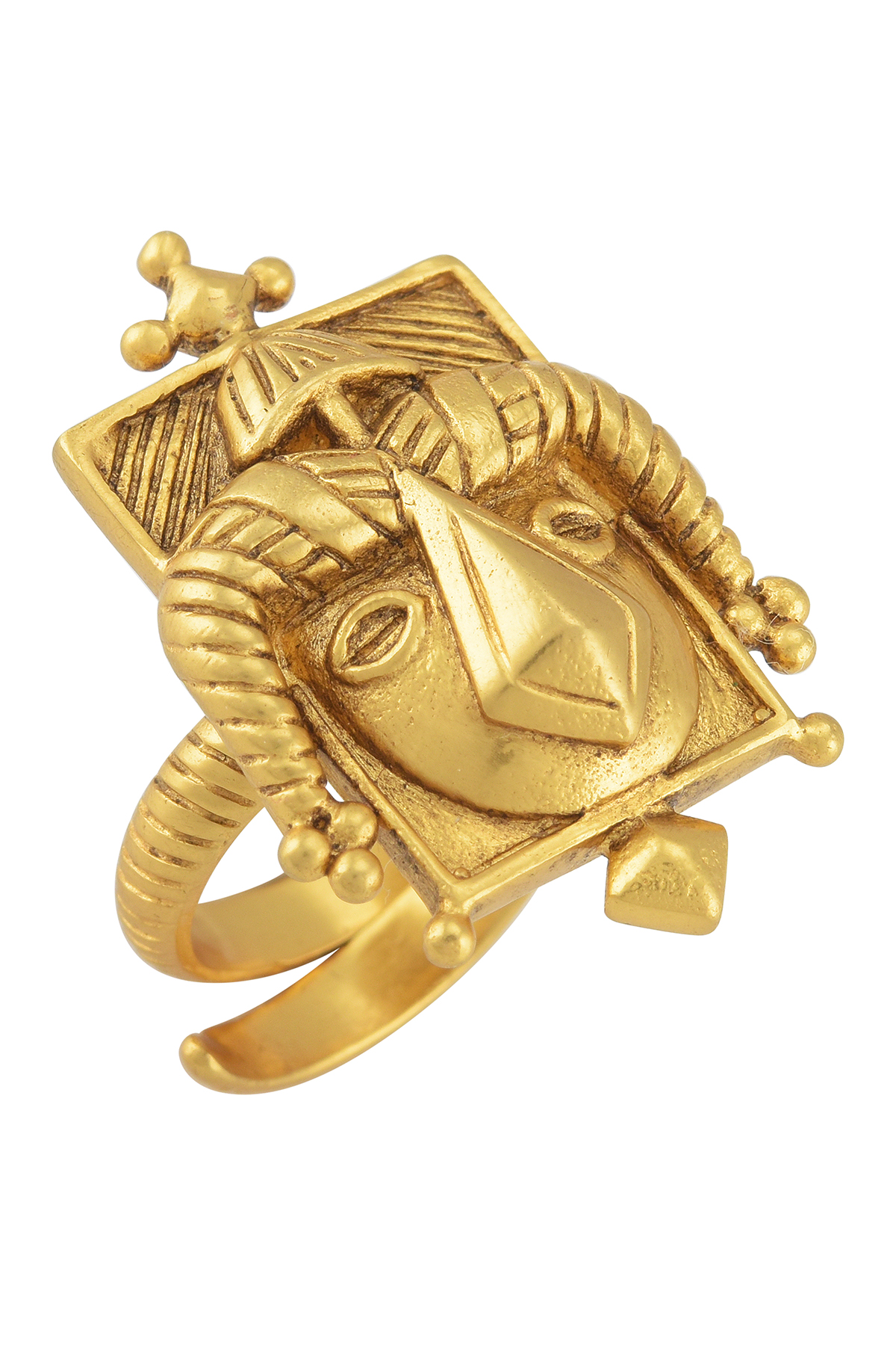Akan Face Mask Gold Plated Ring