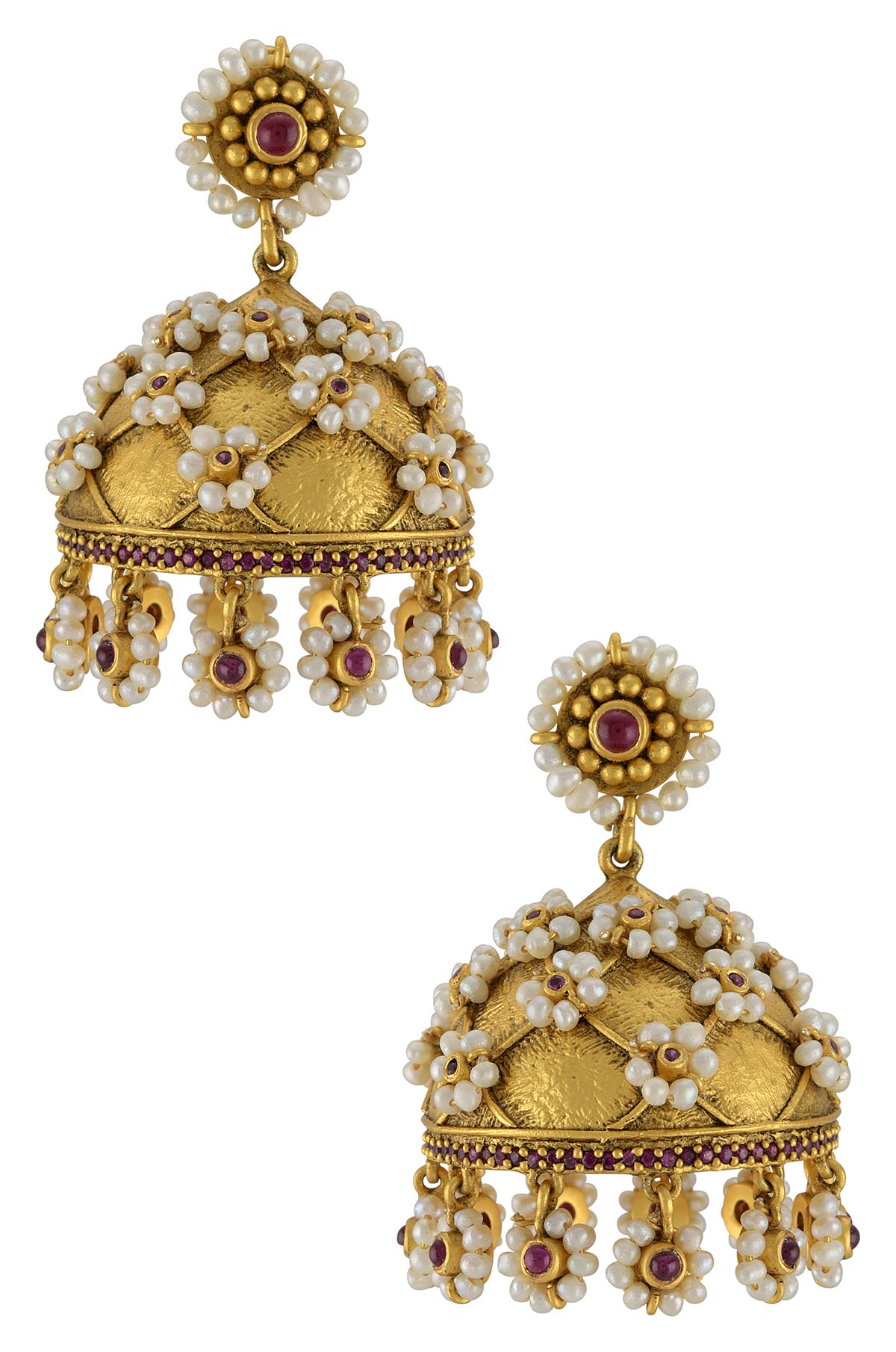Silver Gold Plated Pearl Flower Jhumka Earrings