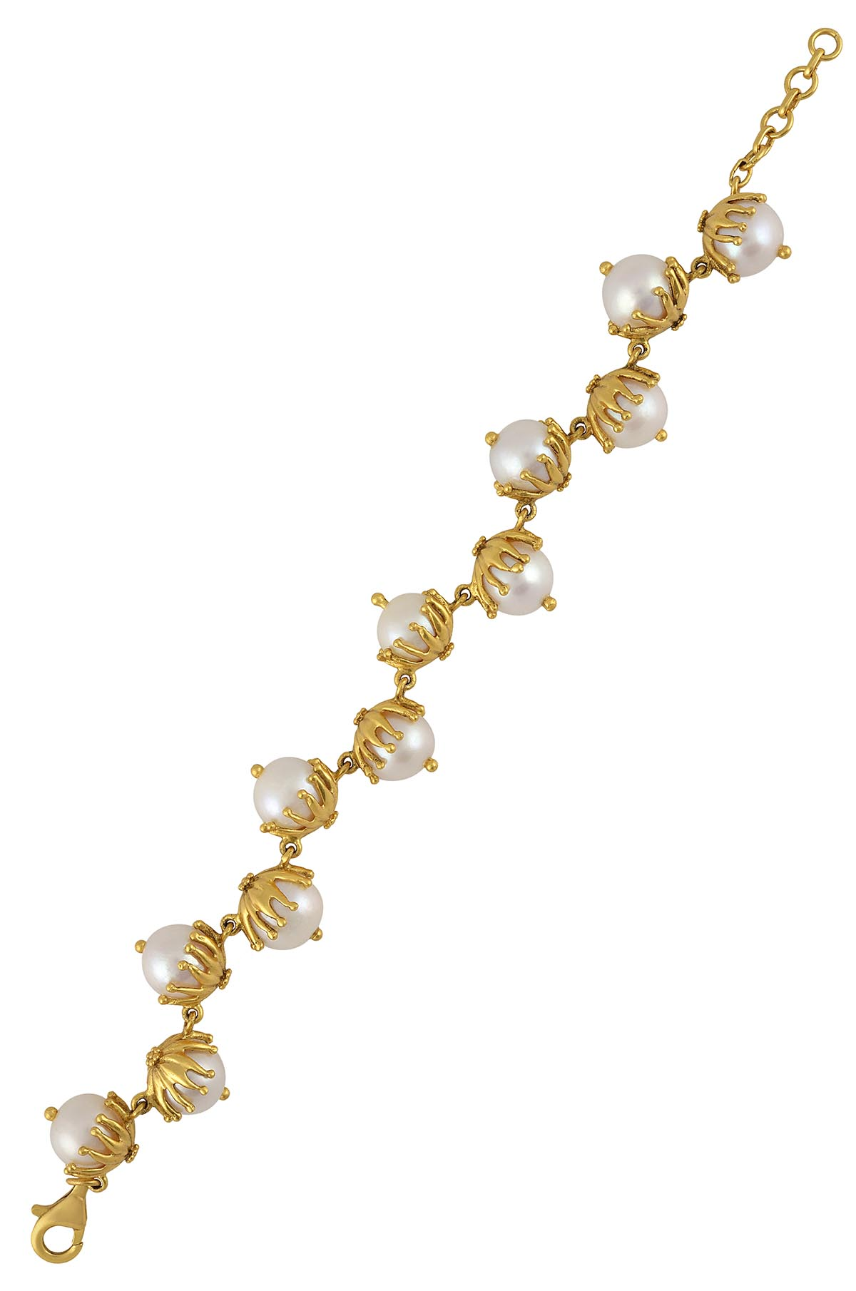 Silver Gold Plated Pearl Leafy Alternate Bracelet
