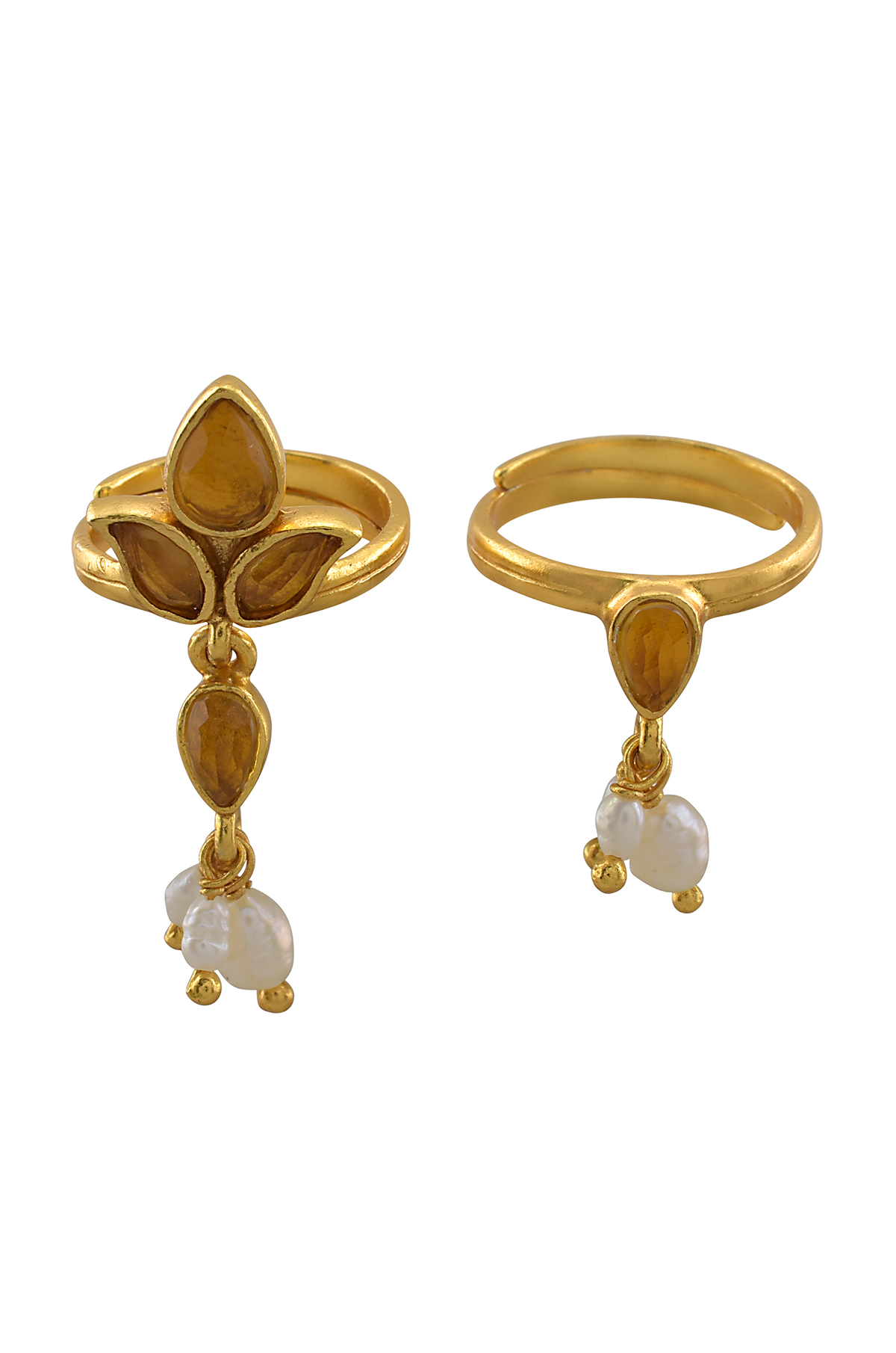 Silver Gold Plated Leafy Crystal Pearl Toe Ring