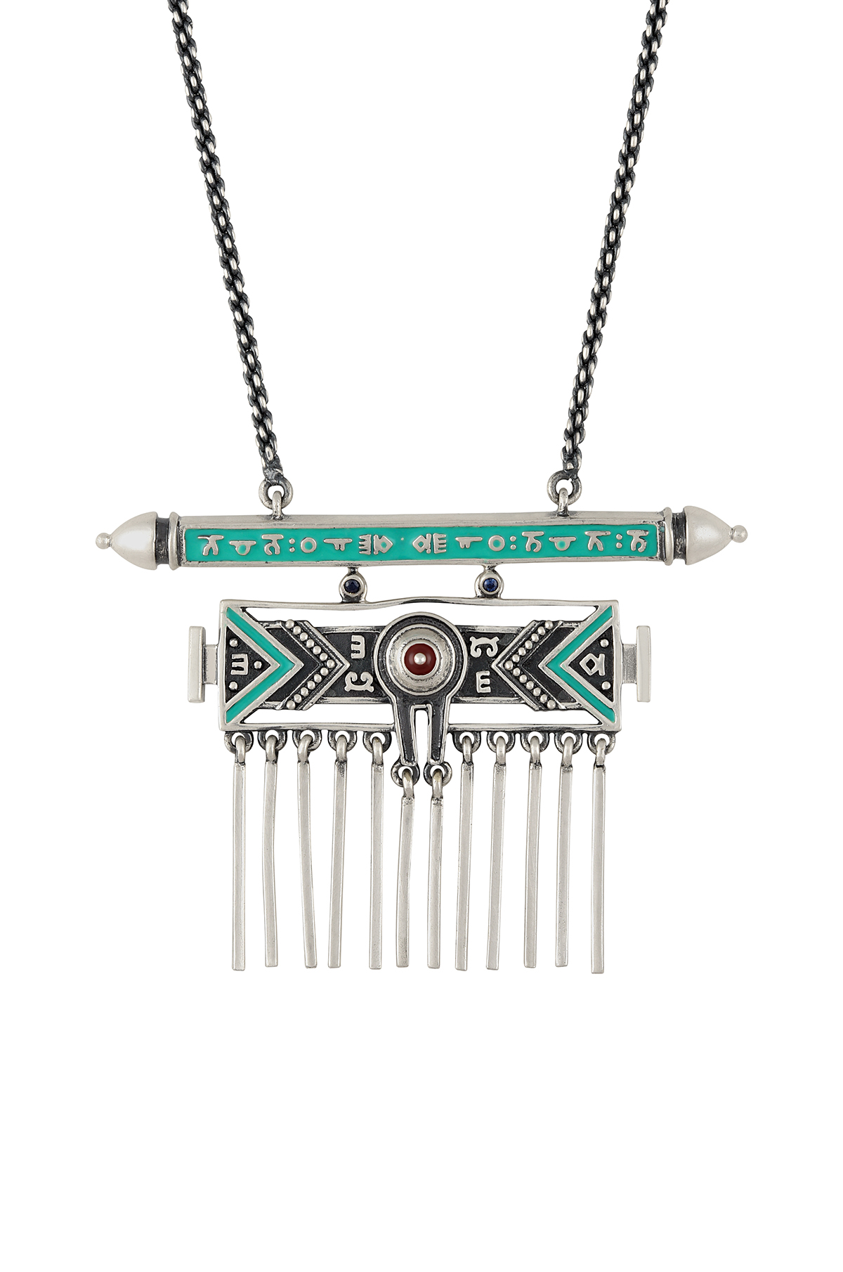 Turquoise Enamelled Taveez Tassel Necklace