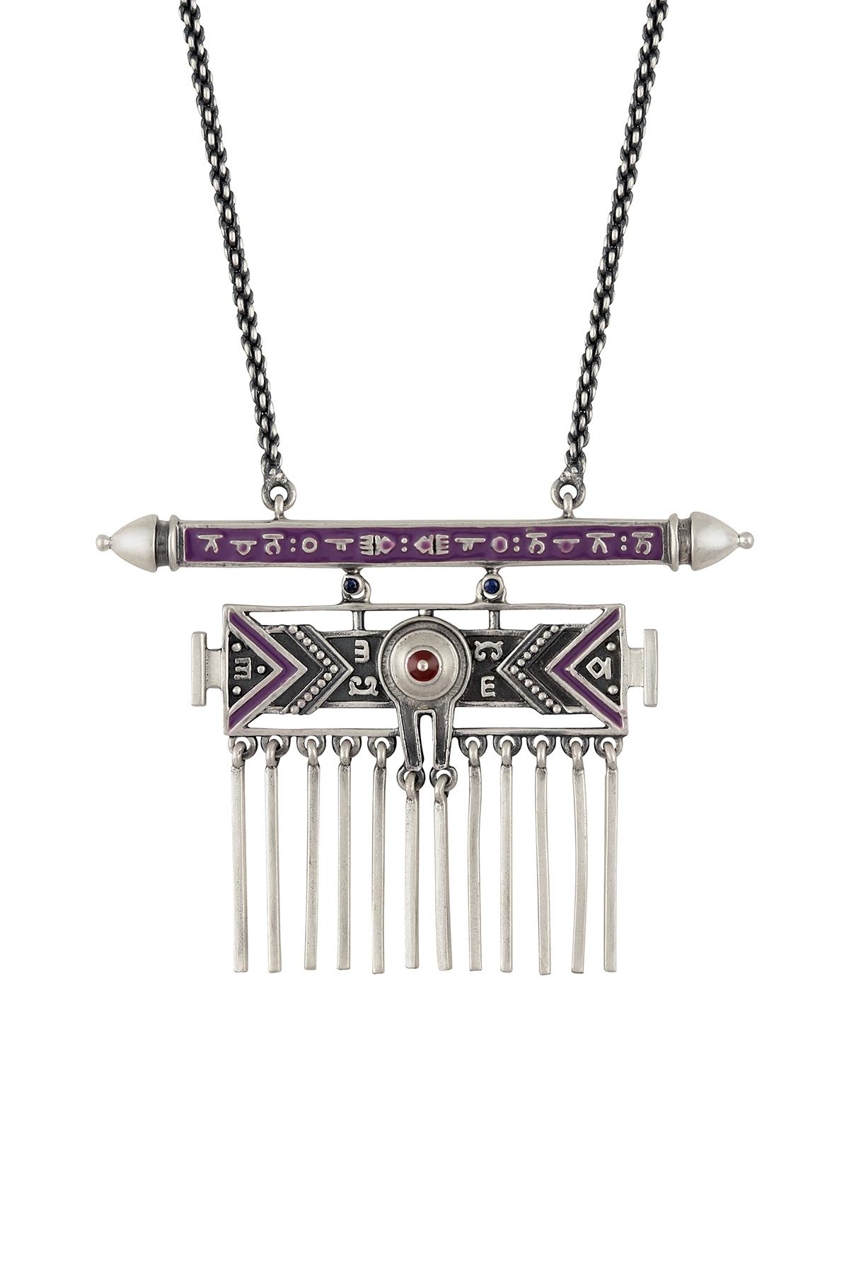 Purple Enamelled Taveez Tassel Necklace