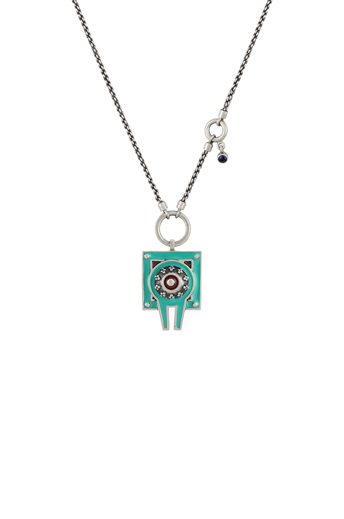 Turquoise Enamelled Dual Sided Shivling Necklace