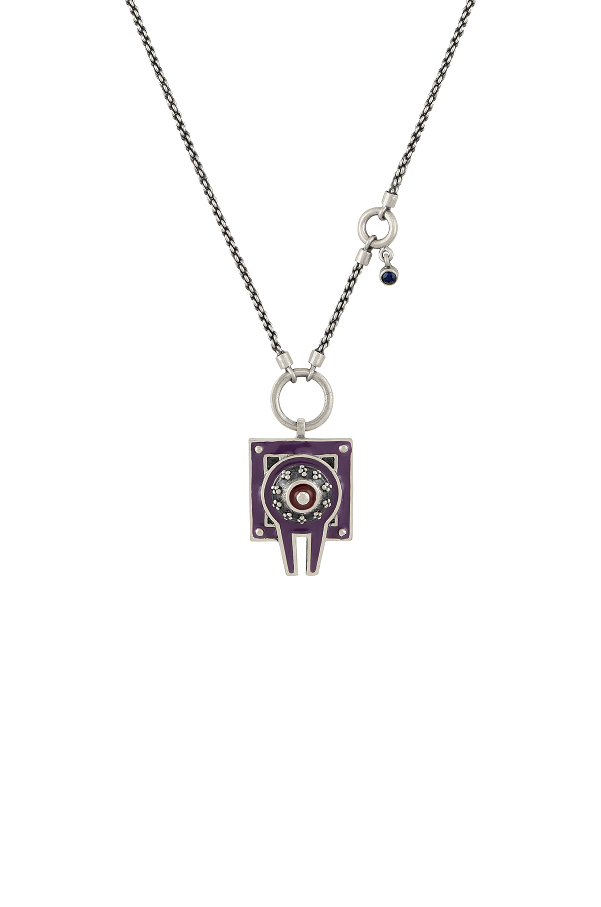 Purple Enamelled Dual Sided Shivling Necklace