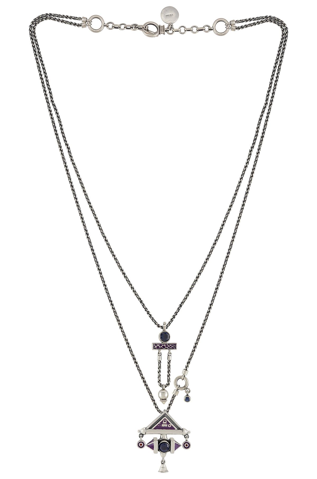 Purple Enamelled Double Layer Shiva Necklace