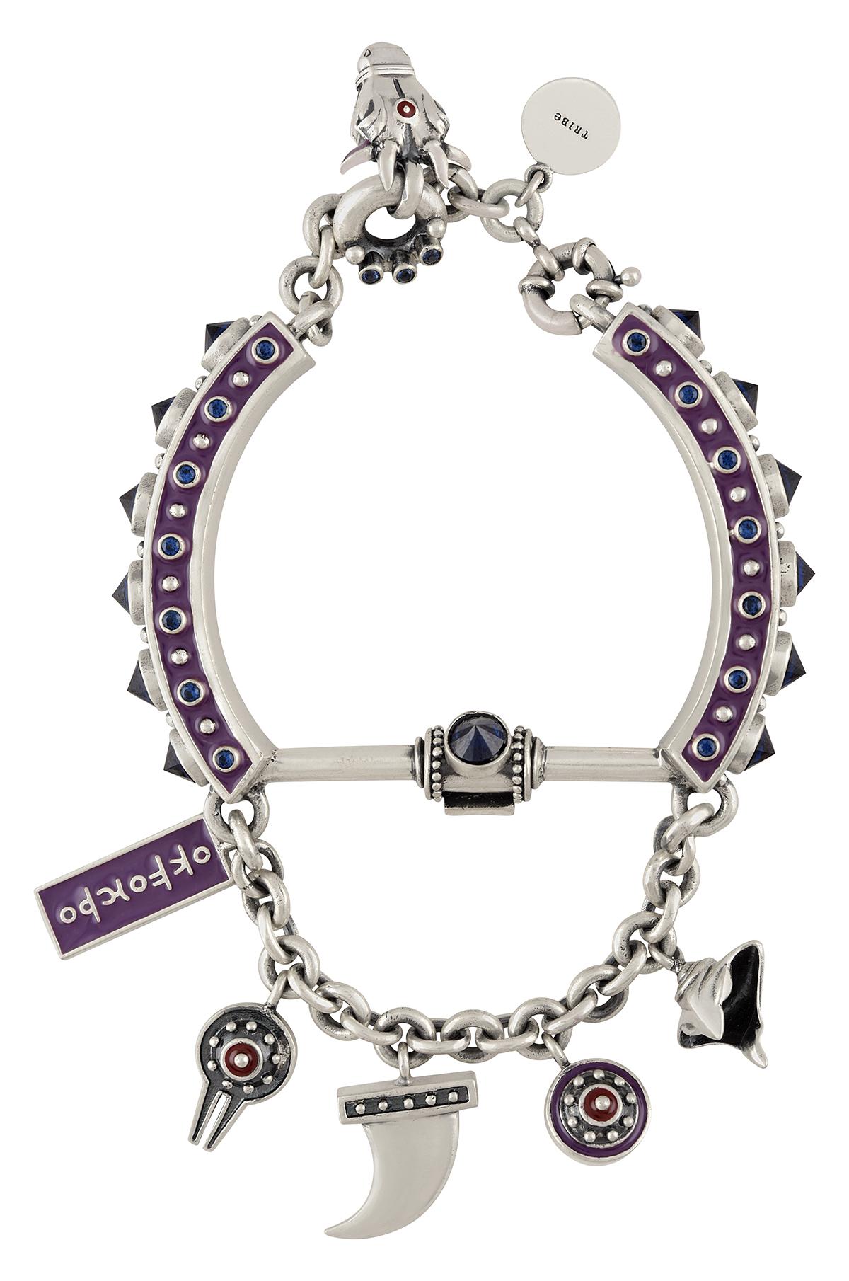 Purple Enamelled Shiva Detailed Charm Bracelet