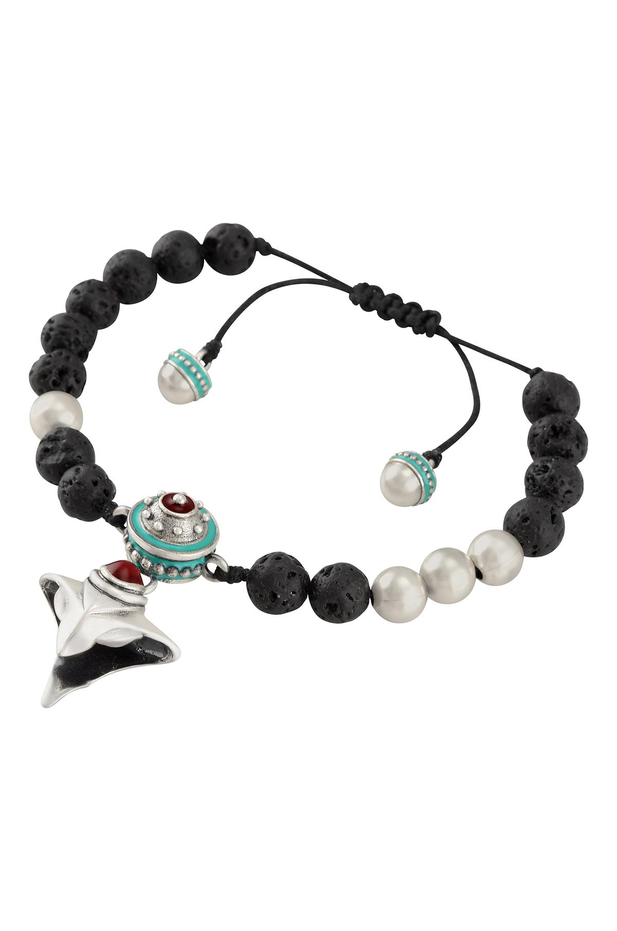 Turquoise Enamelled Rudraksh Inspired Serpent Charm Bracelet