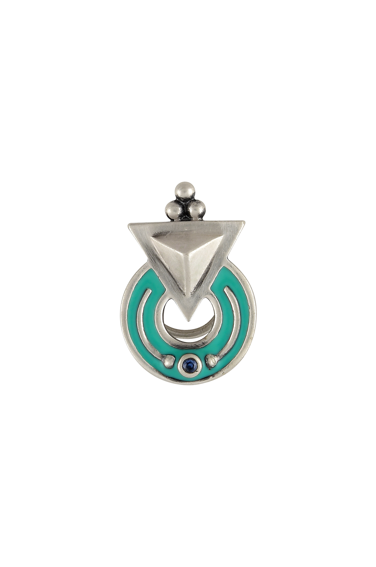 Turquoise Enamelled Silver Plated Nose Pin