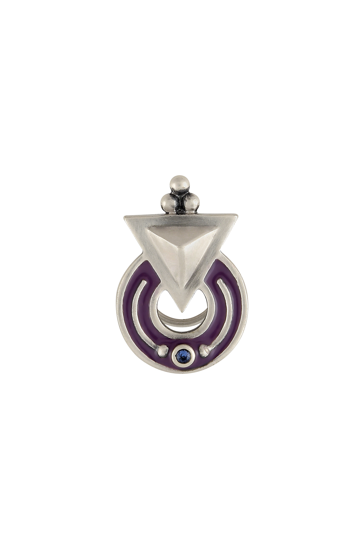 Purple Enamelled Silver Plated Nose Pin