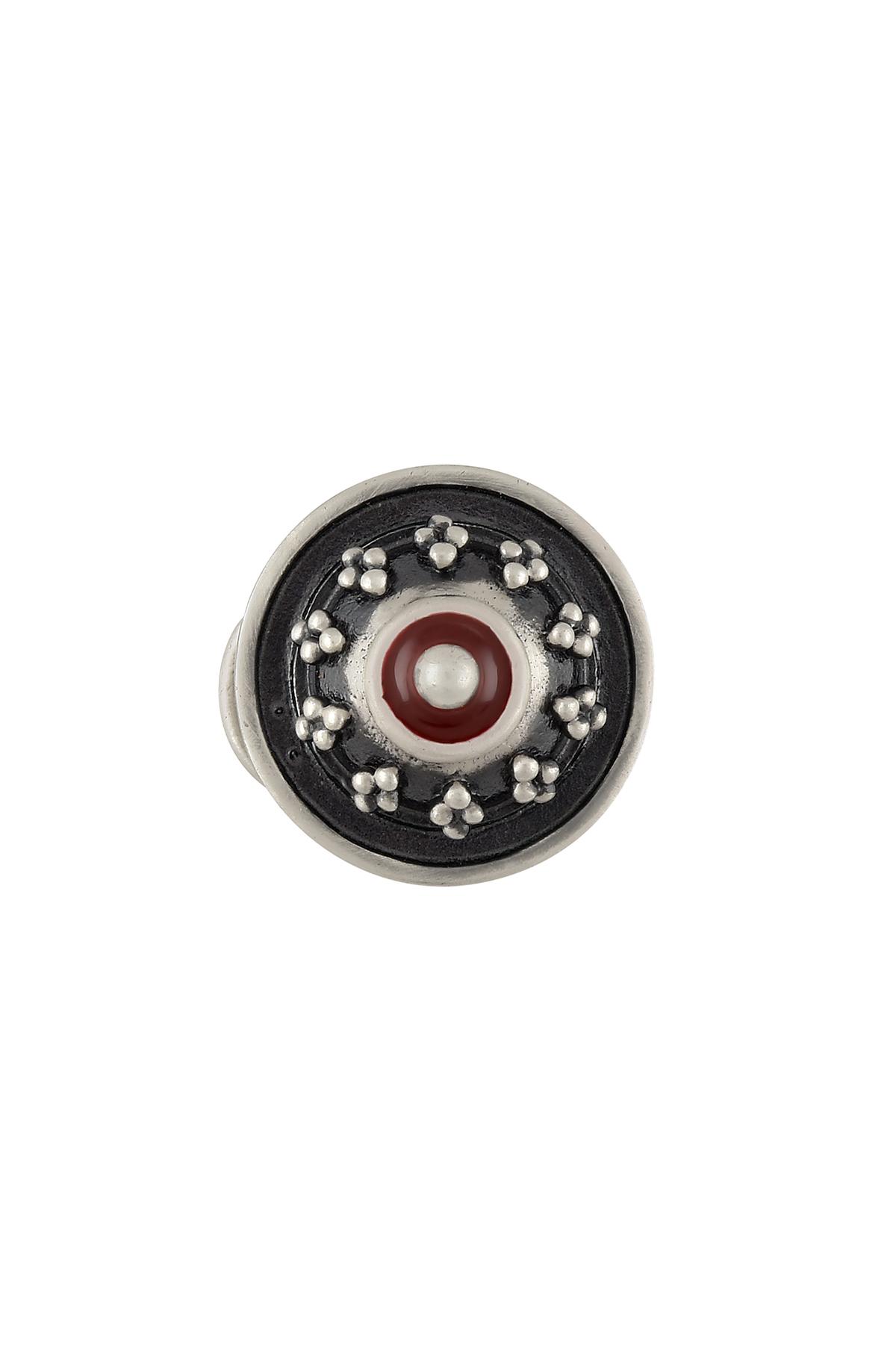 Silver Plated Round Rawa Black Enamel Nose Pin