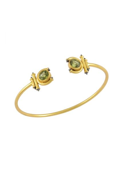 Silver Gold Plated Peridot Round Curved Taveez Cuff