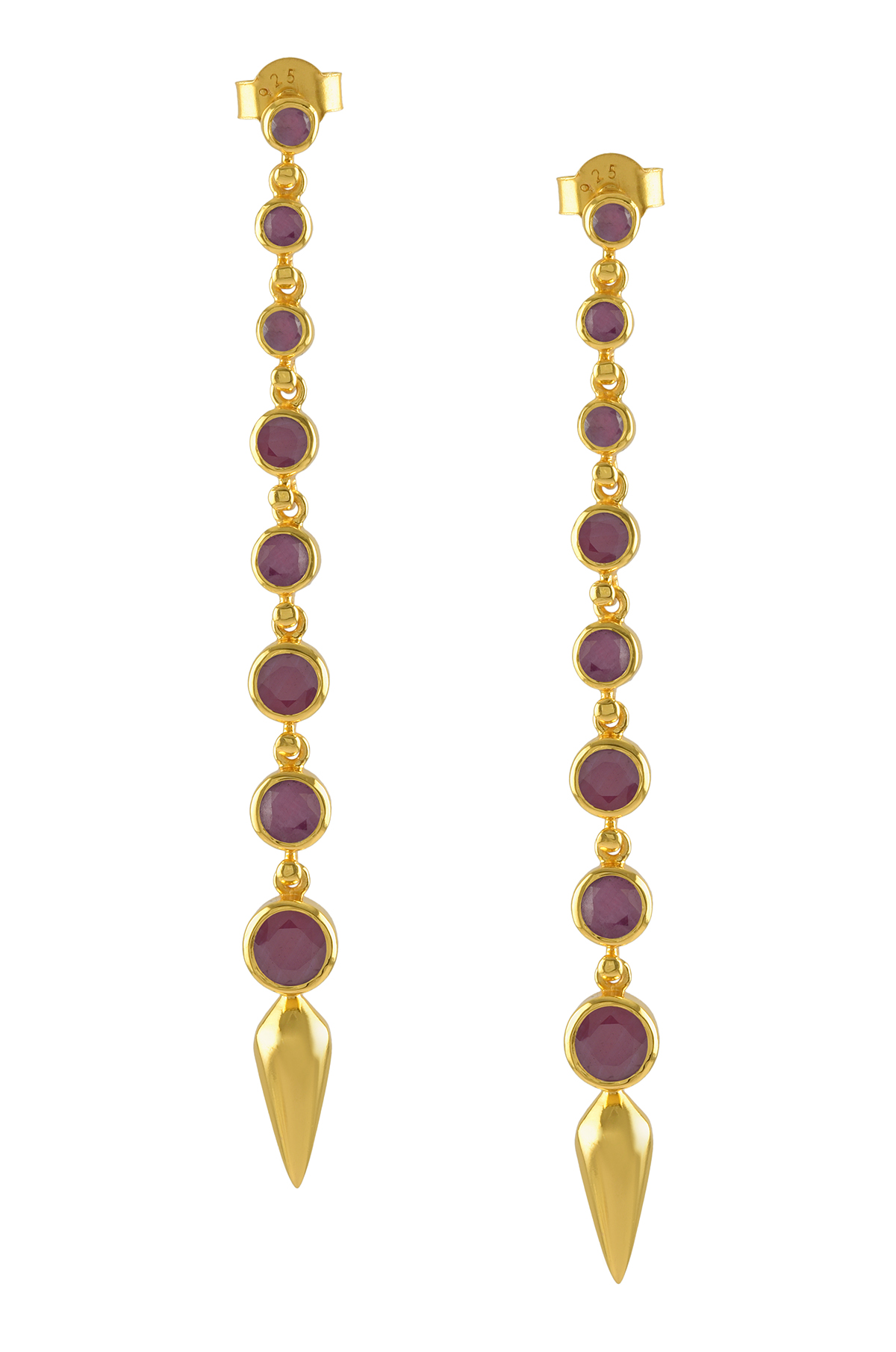 Silver Gold Plated Dyed Ruby Ascending Earrings