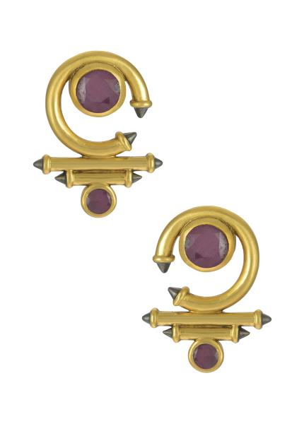 Silver Gold Plated Ruby Round Curved Taveez Ear Stud