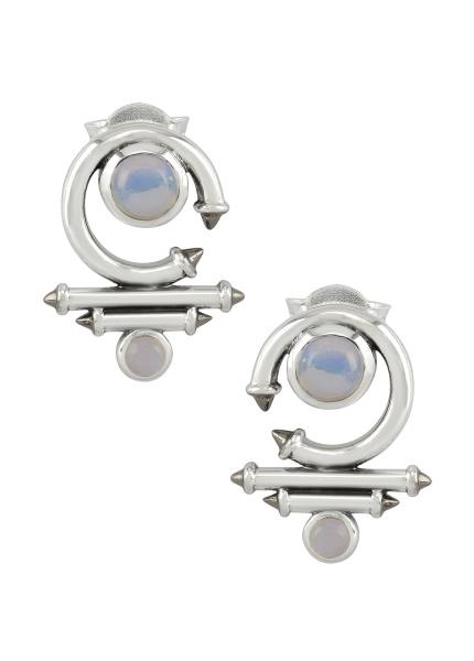Silver Opal Round Curved Taveez Ear Stud
