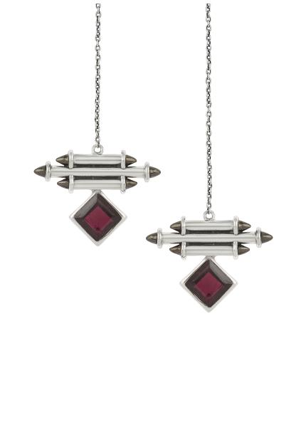 Silver Garnet Front Back Earrings