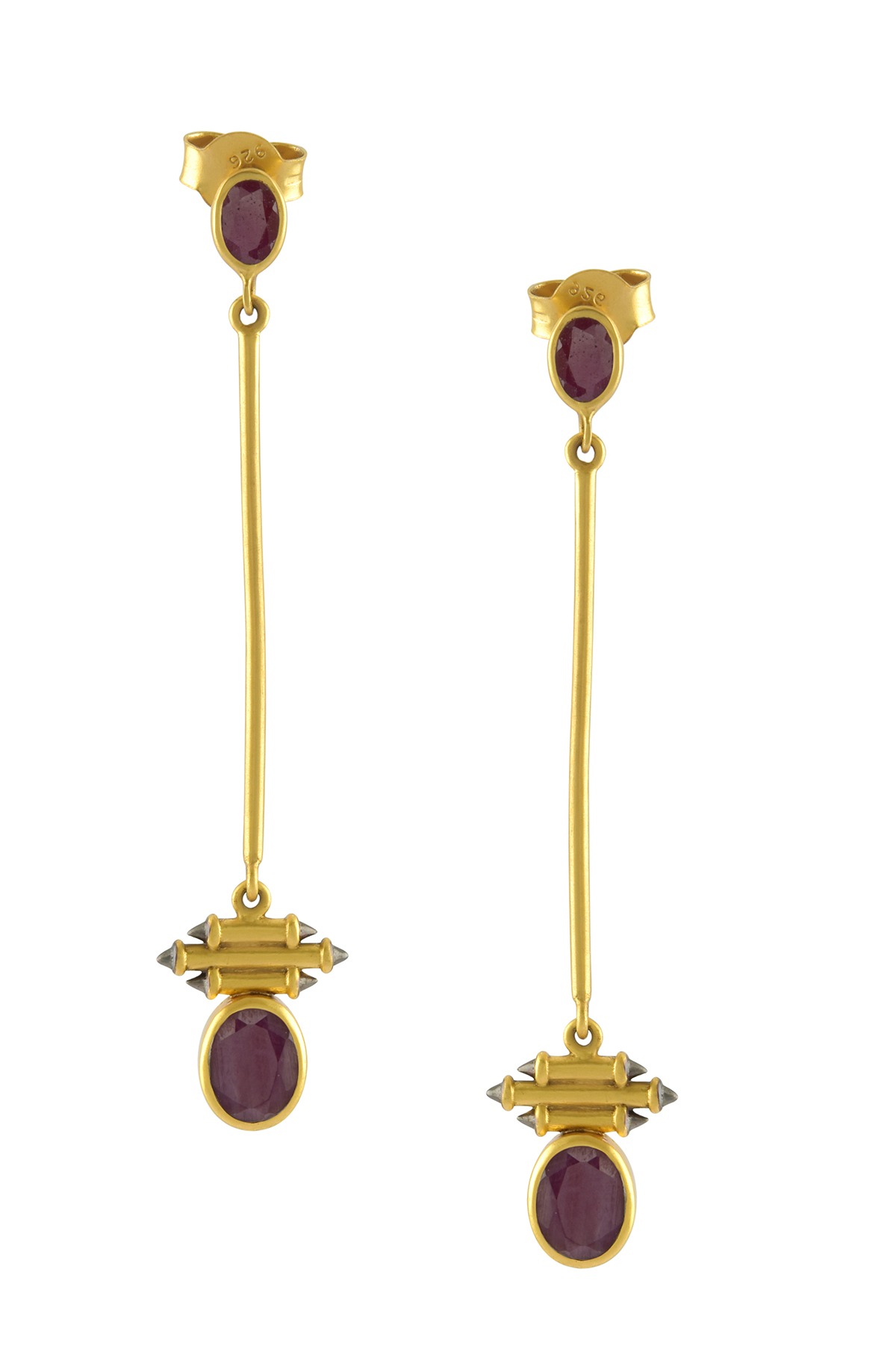 7c43f5b4ac4cac Silver Gold Plated Oval Garnet Long Drop Earrings