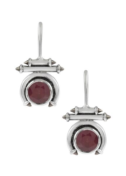 Silver Dyed Ruby Round Taveez Hook Earrings
