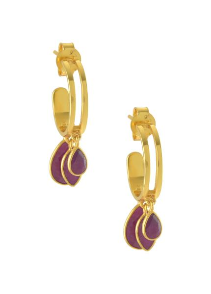Silver Gold Plated Pear Marquise Dyed Ruby Hoop Earrings