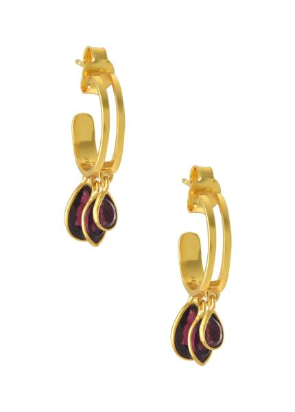 Silver Gold Plated Garnet Drop Hoop Earrings