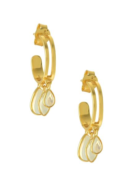 Silver Gold Plated Pear Marquise Opal Hoop Earrings