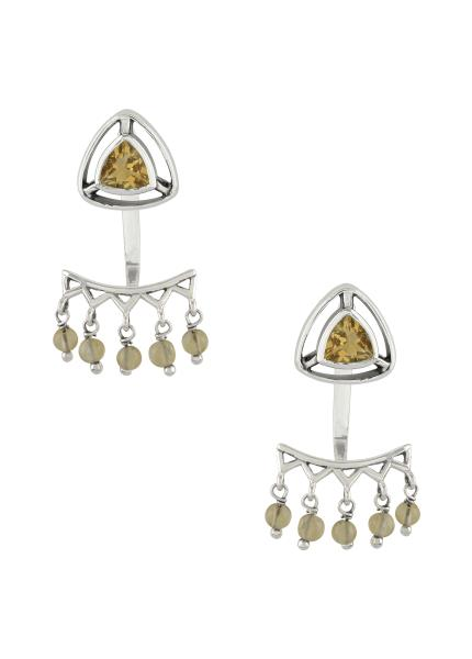 Silver Gold Plated Pink White Glass Flower Jhumki