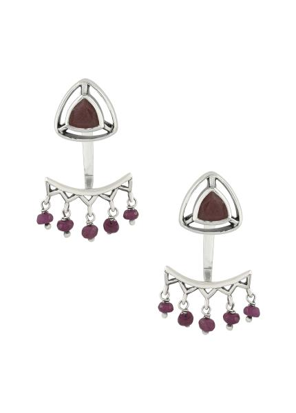Silver Ruby Trillion Drop Front Back Earrings