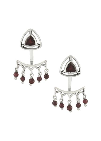 Silver Garnet Trillion Drop Front Back Earrings