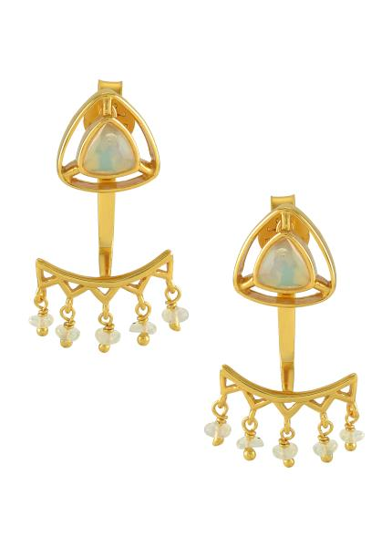 Silver Gold Plated Opal Trillion Drop Front Back Earrings