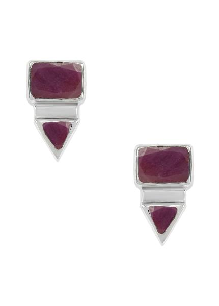 Silver Rectangle Triangle Ruby Ear Studs