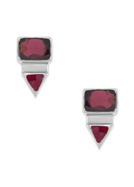 Silver Rectangle Triangle Garnet Ear Studs