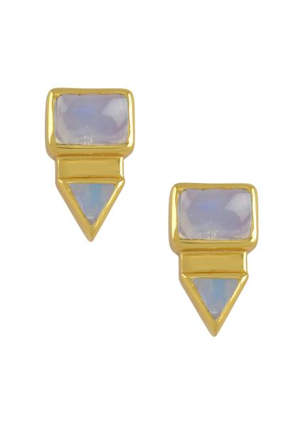Silver Gold Plated Rectangle Triangle Opal Ear Studs
