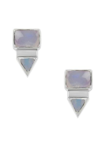 Silver Rectangle Triangle Opal Ear Studs