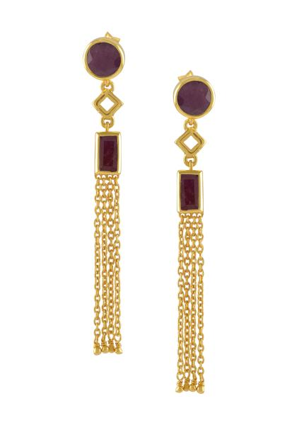 Silver Gold Plated Dyed Ruby Chain Tassel Earrings
