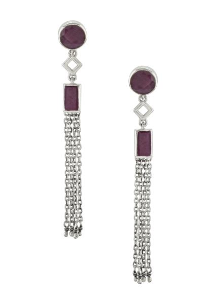 Silver Dyed Ruby Chain Tassel Earrings