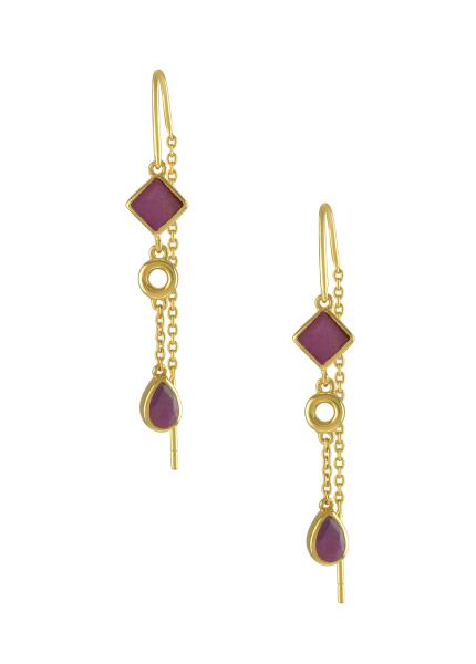 Silver Gold Plated Ruby Thread Earrings
