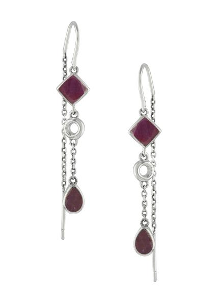 Silver Ruby Thread Earrings