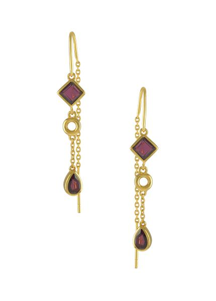 Silver Gold Plated Garnet Thread Earrings