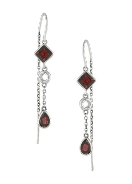 Silver Garnet Thread Earrings