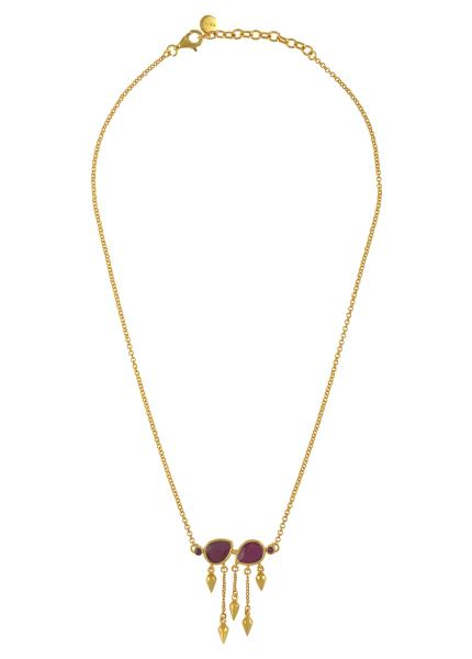 Silver Gold Plated Ruby Pear Multi Drop Necklace