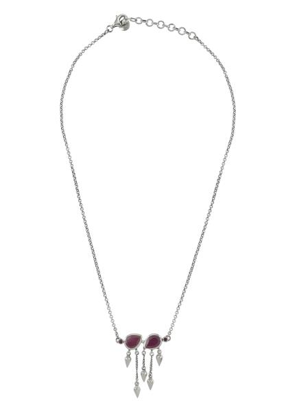 Silver Ruby Pear Multi Drop Necklace