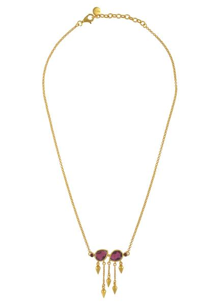 Silver Gold Plated Garnet Pear Multi Drop Necklace