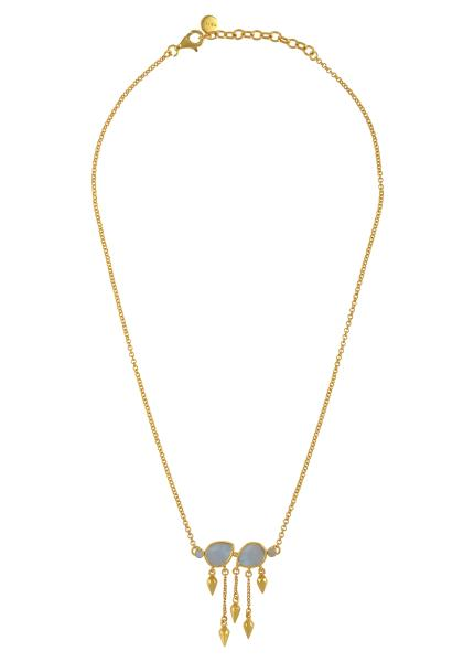Silver Gold Plated Opal Pear Multi Drop Necklace