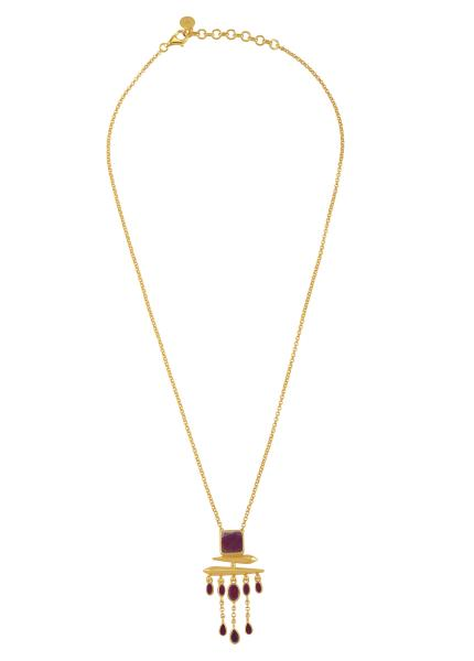 Silver Gold Plated Ruby Square Drop Pendant Necklace